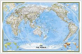 世界地図クラシック太平洋中心